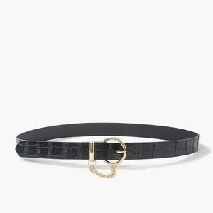 Forever 21 Black Croc Gold Chain Hip Belt Belt S/M